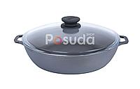 Сковорода чугунная жаровня со стеклянной крышкой Биол 28 см 03281с