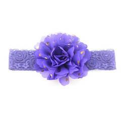Детская фиолетовая повязка на голову - окружность головы приблизительно 40-52см, диаметр цветка 10см
