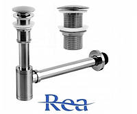 Сифон для раковины REA + Донный клапан без перелива Серый MAT