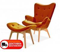 Дизайнерское кресло Флорино с пуфом оттоманкой оранжевый велюр, дизайн Grant Featherston R160 Contour Chair