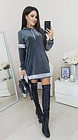 Платье-туника женское, стильное, бархатное, свободное, повседневное, прямое, с капюшоном, норма и батал
