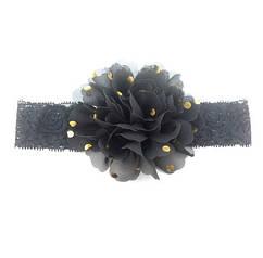 Детская черная повязка на голову - окружность головы приблизительно 40-52см, диаметр цветка 10см
