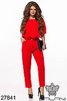 Костюм женский красный брючный с блузой (размеры 42-44, 44-46)