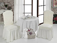 Чехол на стул с юбкой Кремовый Home Collection Evibu Турция 50129