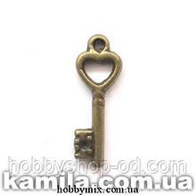 """Метал. подвеска """"ключик"""" бронза (0,7х2 см) 12 шт в уп."""