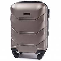 Дорожный чемодан пластиковый Wings 147 маленький ручная кладь 4 колеса золотой