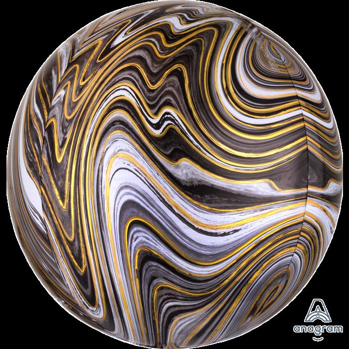 "Фольгований куля 3d сфера А 16"" Агат чорний black marble"