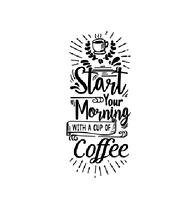Интерьерная наклейка надпись Start your morning (английские буквы кофе) матовая черная 876х2000 мм