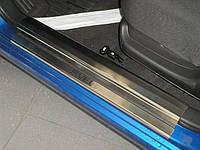 Chevrolet Aveo T250 2005-2011 гг. Накладки на пороги Nataniko (нерж.) 4 шт, Стандарт - лента Lohmann, 0.5мм