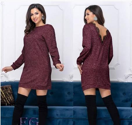 Демисезонное свободное платье миди с длинным рукавом ангора открытая спина бордовое, фото 2