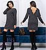 Теплое платье миди свободного кроя с открытой спиной пудровое, фото 3