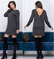 Прямое демисезонное платье выше колен с длинными рукавами черное