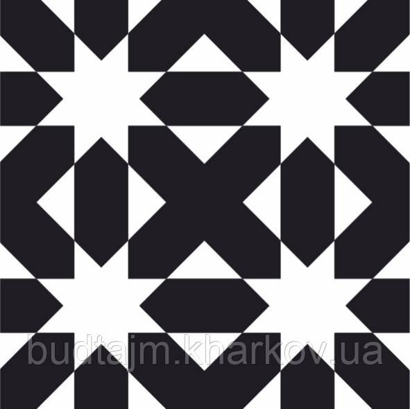 200Х200 Керамічна плитка стіна Фрістайл 5М чорно-білий