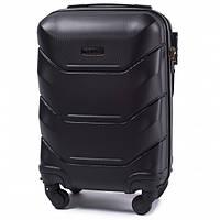 Дорожный чемодан пластиковый Wings 147 маленький ручная кладь 4 колеса черный