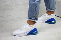 Кроссовки женские весенние из текстиля на шнуровке, белые с синим