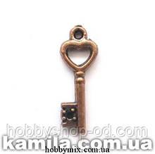 """Метал. подвеска """"ключик"""" медь (0,7х2 см) 12 шт в уп."""