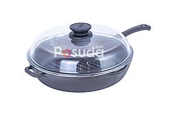 Сковорода гриль чугунная круглая 24 см Биол со стеклянной крышкой 1124с