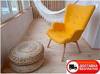 Дизайнерское кресло Флорино желтое на деревянных ножках точная копия Featherston R160 Contour Chair