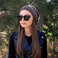 Женская вязаная шапка-носок, цвета коричнево-бежевый меланж объемной крупной вязки