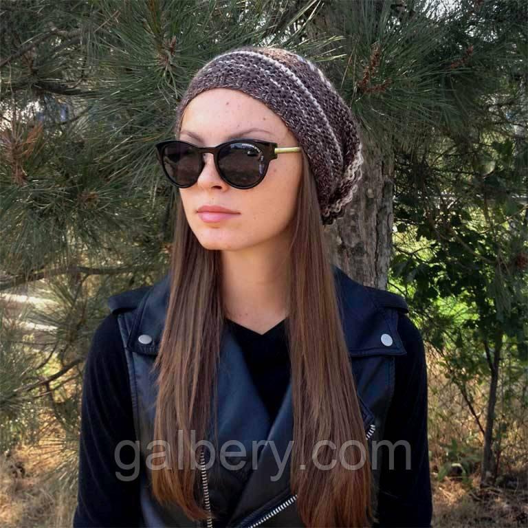 женская вязаная шапка носокцвета коричнево бежевый меланж объемной