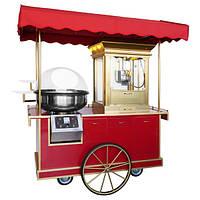 Прилавок + аппарат для сладкой ваты + машина для попкорна