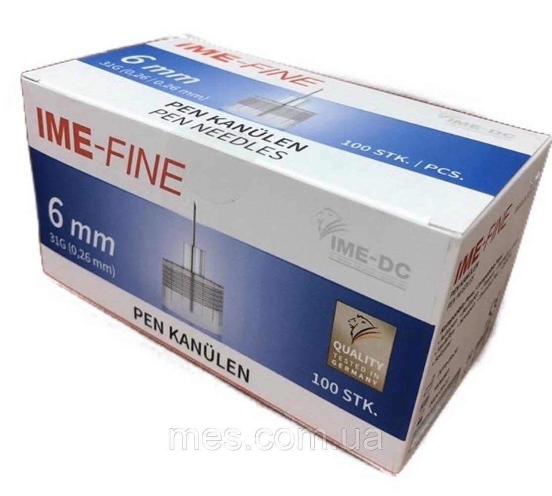 IME-FINE иголки 6 мм, универсальные к шприц-ручкам №100