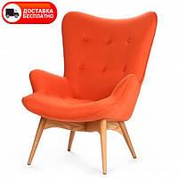 Дизайнерское кресло Флорино оранжевый кашемир на деревянных ножках точная копия Featherston R160 Contour Chair