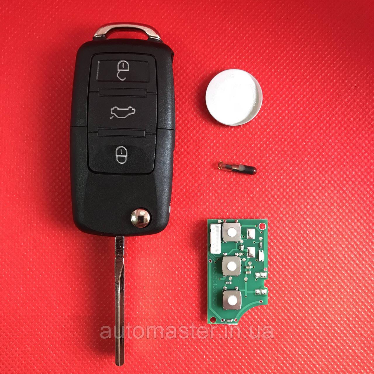 Ключ Фольксваген Volkswagen   Пассат 3 кнопки с микросхемой 1J0959753DJ,с частотой 315 MHz ID48