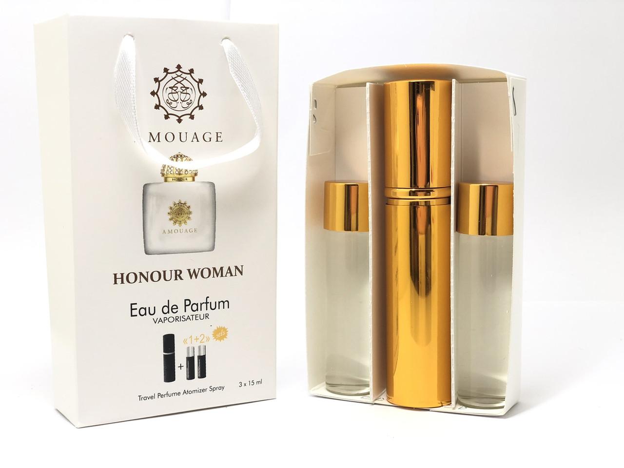 Подарочный парфюмерный набор с феромонами женский Amouage Honour for Woman 3х15 мл