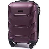 Дорожный чемодан пластиковый Wings 147 маленький ручная кладь 4 колеса бордовый