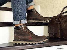 Мужские зимние ботинки Levis,на меху,темно коричневые 40р