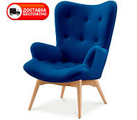 Дизайнерское кресло Флорино синий кашемир, на деревянных ножках, точная копия Featherston R160 Contour Chair