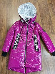 Лаковая, демисезонная куртка для девочек.