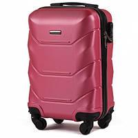 Дорожный чемодан пластиковый Wings 147 маленький ручная кладь 4 колеса розовый