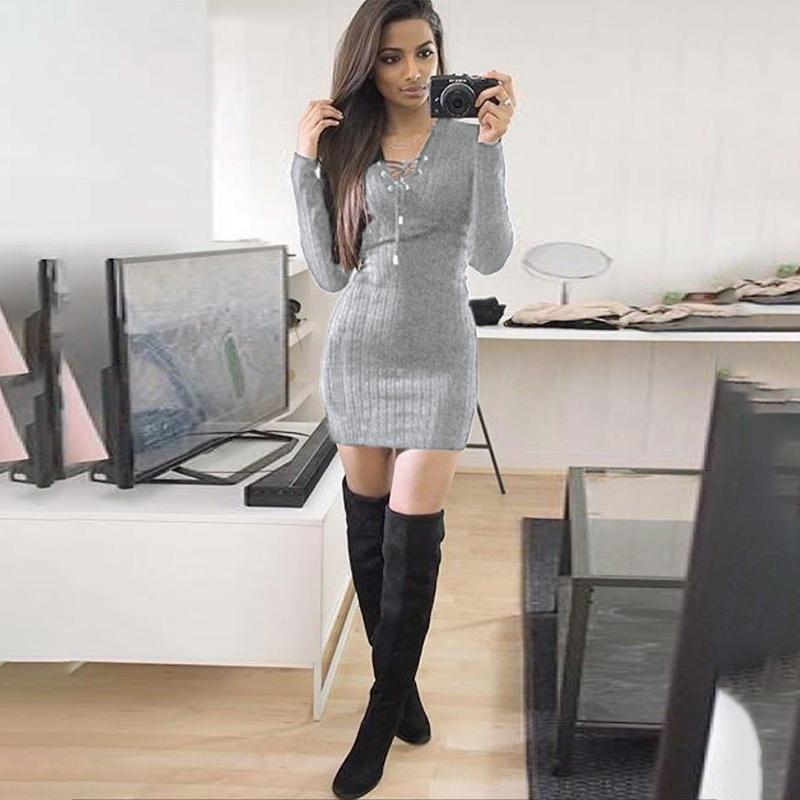 Стильне плаття туніка зі шнурівкою