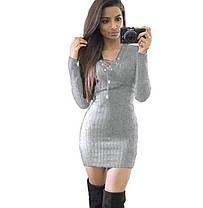 Стильне плаття туніка зі шнурівкою, фото 2