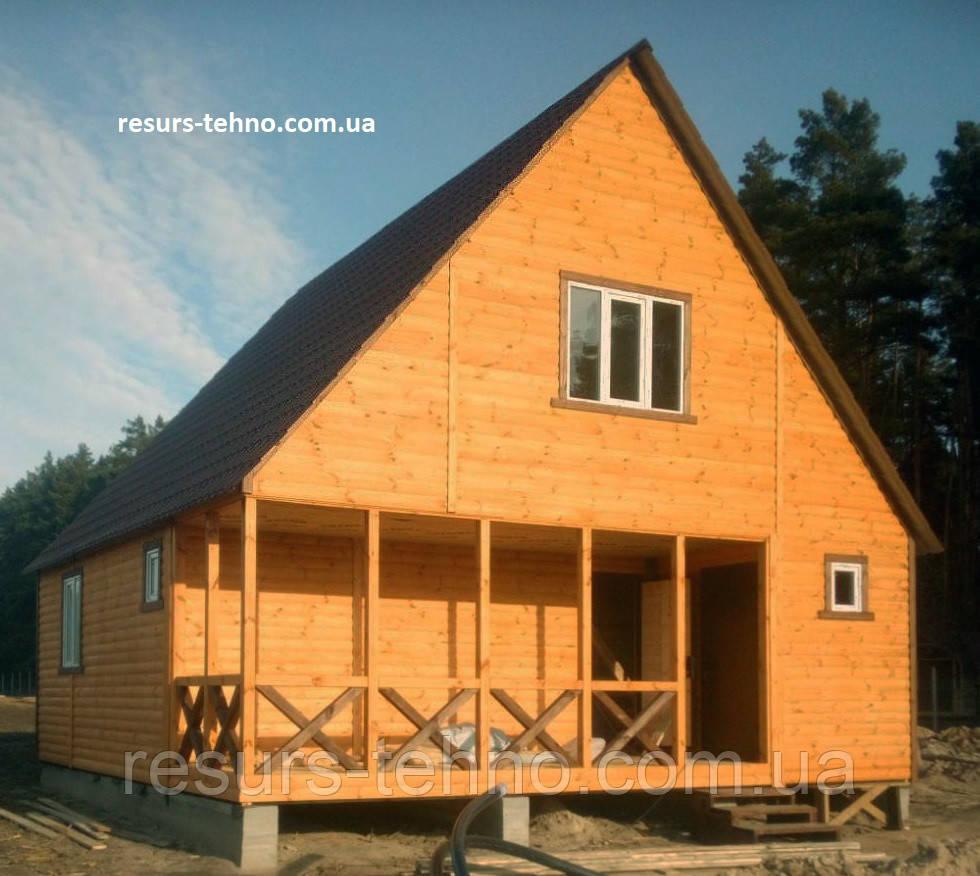 Дачный дом 8,0м х 8,0м с мансардой. Отделка блокхаусом