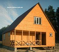 Дачный дом 8,0м х 8,0м с мансардой. Отделка блокхаусом, фото 1