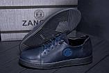 Мужские кожаные кеды ZG GO GO Man Blue spring, фото 8