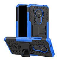 Чехол Armored для Nokia 7.2 противоударный бампер с подставкой синий