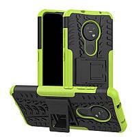 Чехол Armored для Nokia 7.2 противоударный бампер с подставкой салатовый
