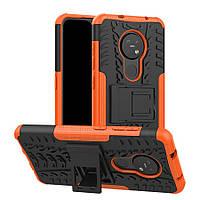 Чехол Armored для Nokia 7.2 противоударный бампер с подставкой оранжевый
