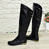Ботфорты зимние женские из натуральной черной кожи, декорированы россыпью камней, фото 2