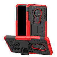 Чехол Armored для Nokia 7.2 противоударный бампер с подставкой красный