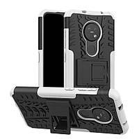 Чехол Armored для Nokia 7.2 противоударный бампер с подставкой белый