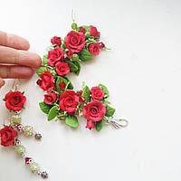 Браслет и серьги с красными розами, фото 1