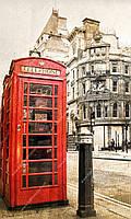 Фотообои на флизелиновой основе - Красные телефонные кабины (ширина рулона -1,03м)