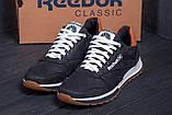 Мужские кожаные кроссовки  Reebok Classic black, фото 8