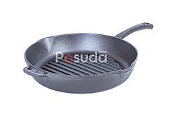 Сковорода гриль чугунная круглая Биол 24 см 1124