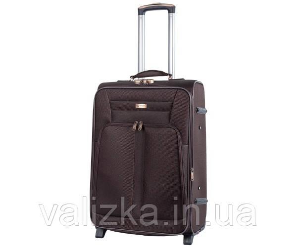 Текстильный чемодан средний YADIHAOBIN на двух колесах коричневый